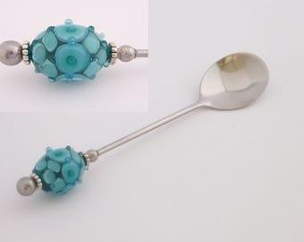 Jelly, caviar spoon featuring handmade artisan lampwork glass beads by Chrys Art Glass