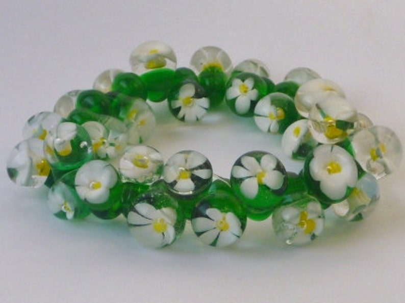 Bracelet Lampwork Glass daisy drops. Artisan lampwork SRA image 0