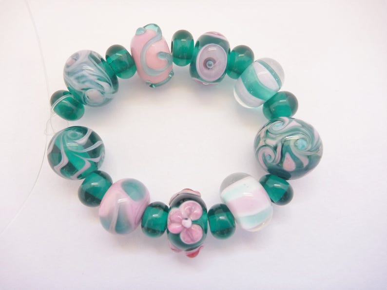 Beads Lampwork Glass Bead Set in teal green and pink. 18 image 0