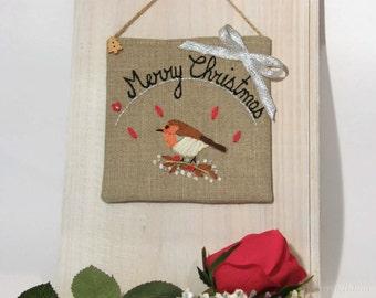 Merry Christmas Sign- Holiday Decor- Christmas Decor- Christmas Robin-Christmas Decoration.