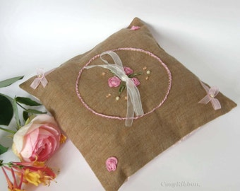 Ring Bearer Pillow- Wedding Pillow- Embroidery-Rustic Wedding pillow-Bridal Ring Pillow