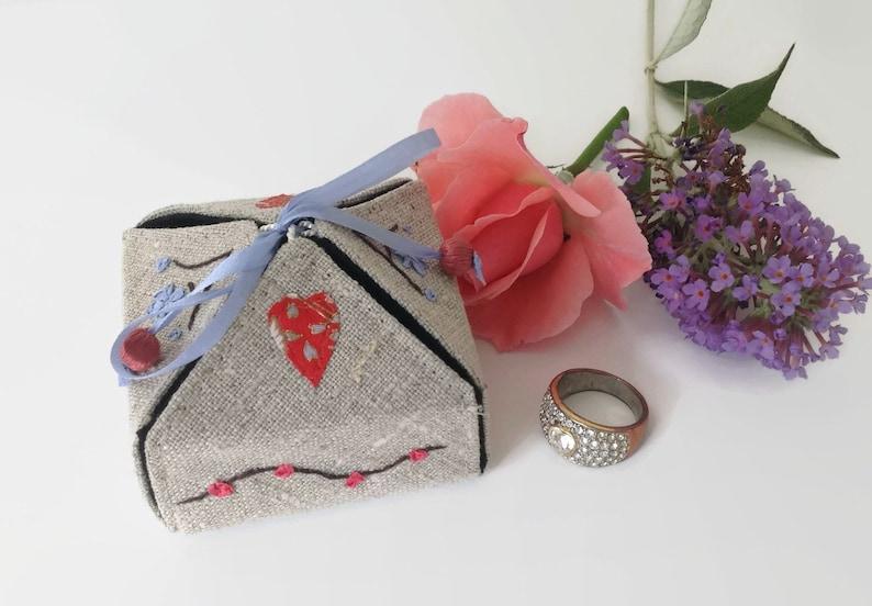 Gift Box her Bridesmaid Gift Linen Gift Box engagement jewelry box Personalized Gift Box Linen and Silk Gift Box Keepsake jewelry Box