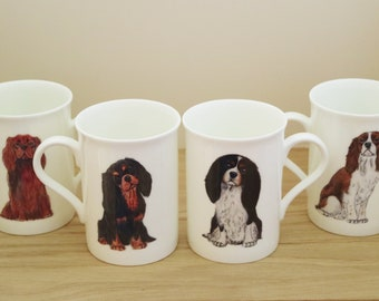 IRISH WATER SPANIEL DOG MUG OFF TO THE DOG SHOW WATERCOLOUR PRINT SANDRA COEN