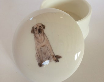 Small Yellow Labrador Trinket Box