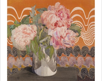 Fine art print - Mackintosh - Peonies 1920 - unframed wall art in choice of sizes WITH BORDER