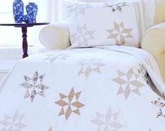 Easy Quilt Patterns PDF & FREE Pillow Sham Pattern Star Quilt Pattern Farmhouse Quilt Pattern Christmas Quilt Patterns