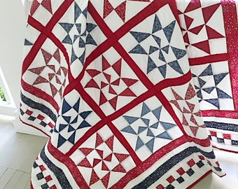 Star Quilt Patterns PDF Red and White Quilt Pattern Patriotic Quilting Pattern Farmhouse Quilt Pattern Christmas Quilts