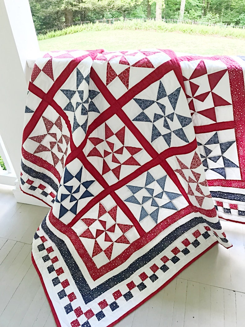 Star Quilt Patterns Pdf Red And White Quilt Pattern Patriotic Etsy