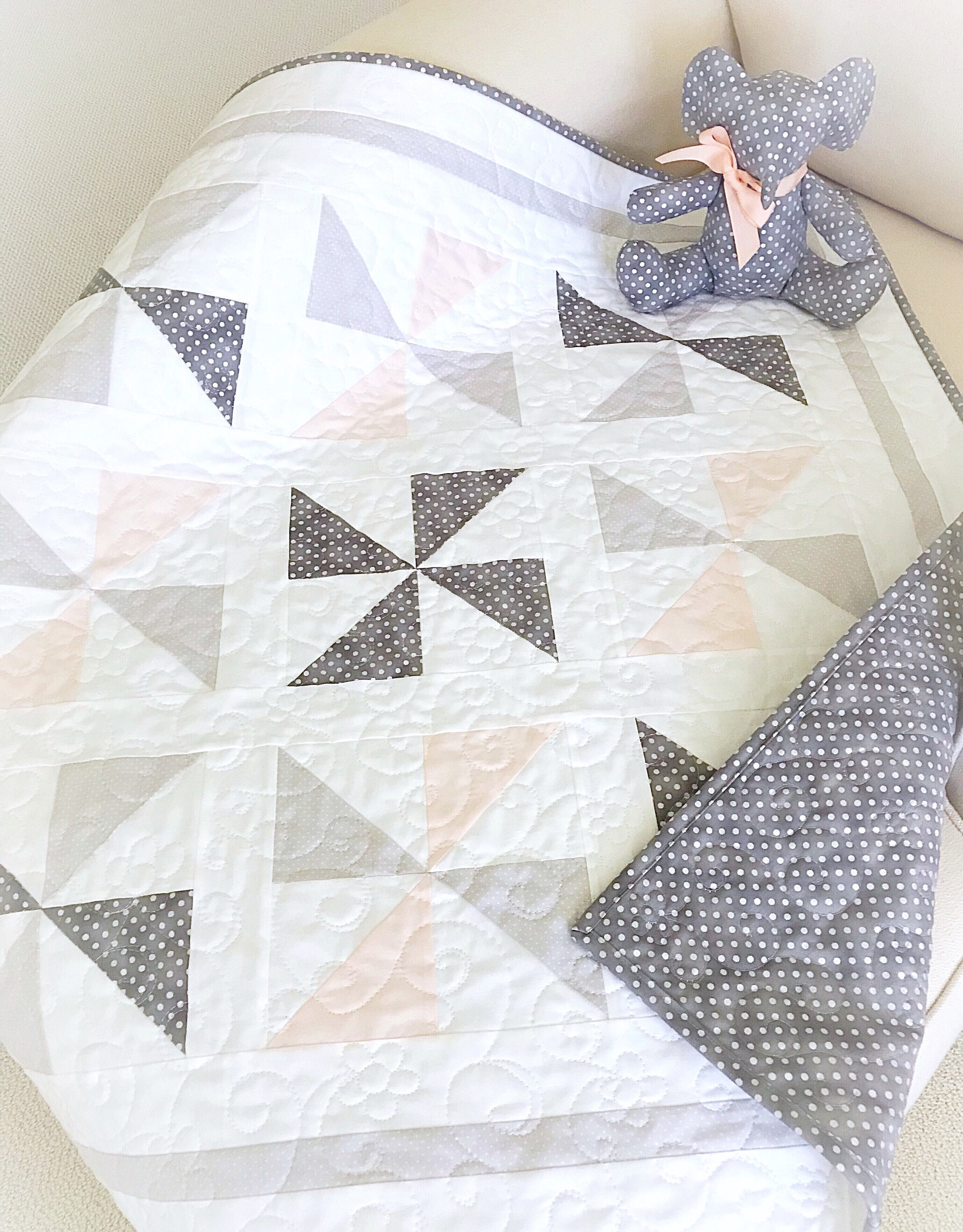 Baby Quilt Patterns PDF and Free Elephant Pattern Easy Quilt Pattern  Beginner Quilt Pattern Pinwheel Quilt Pattern