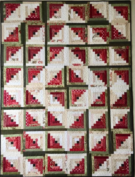 Log Cabin Christmas Quilt.Log Cabin Quilt Patterns Pdf Christmas Quilt Pattern Easy Quilt Patterns Beginner Quilt Pattern Watermelon Quilt
