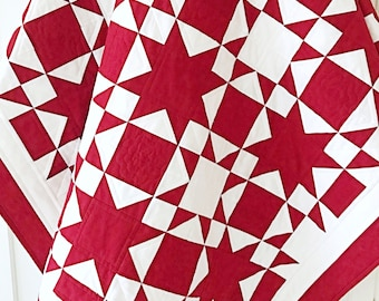Red and White Quilt Patterns PDF Easy Quilt Patterns for Beginners Star Quilt Pattern Patriotic Quilt Christmas Quilt Pattern Farmhouse