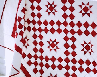 Quilt Patterns PDF Red and White Quilt Patterns Easy Quilt Pattern Star Quilt Pattern Farmhouse Quilt Download