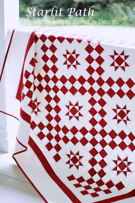 Christmas Quilt Patterns PDF Red and White Quilt Pattern Easy   Etsy