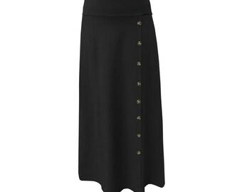 7f0ea08a6fcb Baby'O Women's Stretch Cotton Knit Faux Button Front Maxi A-Line ModestSkirt