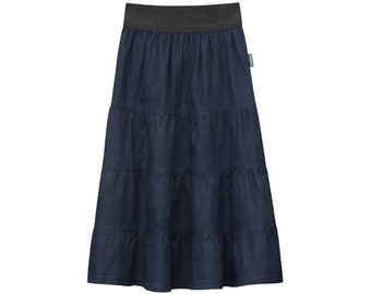 c8145a1c52a2a Baby'O Girl's 4 Tiered Lightweight Modest Denim Mid-Calf Skirt
