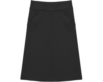 Baby'O Modest Girl's Stretch Cotton Knit Panel Below the Knee Skirt