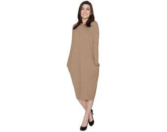 Baby'O Women's Pleated Drape Front Slouch Pocket Midi Dress, Ginger