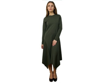 Baby'O Women's Silky Ponte Knit Handkerchief Dress