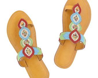 de5ccdd754b5 Premium Quality Outstanding Dark Yellow Beadwork Handmade Kolhapuri Leather  Sandal for Women P-W-090