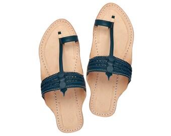 dde17a0b08eaed Awesome looking Blue Kolhapuri Sandal