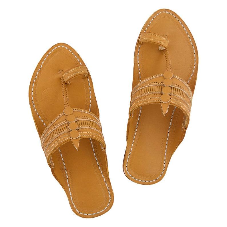 Premium Quality Regular Style Dark Yellow Embosed Kolhapuri Chappal for Men P M 048