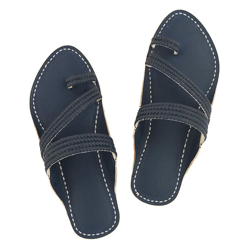 63797ce2cee86 Premium Quality Exclusive Dull Blue Braided Handcrafted Men Kolhapuri  Chappal P-M-013