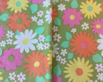 Floral Flower Print Fabric Blue Vintage Lightwight Cotton Fabric Blues And Pinks