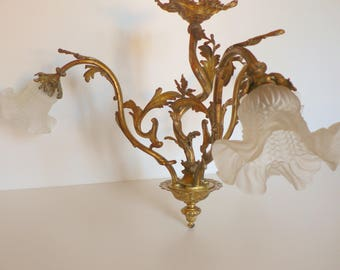 French chandelier etsy antique french gilt bronze rococo triple chandelier 1900 late baroque aloadofball Choice Image