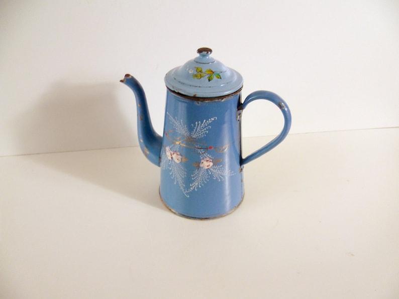 Vintage French Biggin Coffee Pot Blue Floral 1800s