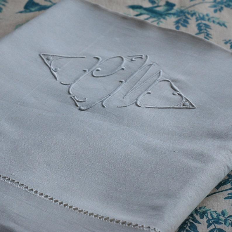 Vintage French Pure Linen Sheet Monogram PM