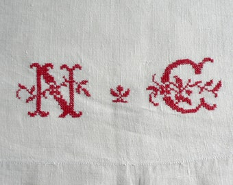 Antique French Linen Panel Red Monogram NC to Rework (3 available)
