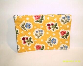 yellow vintage print zipper pouch