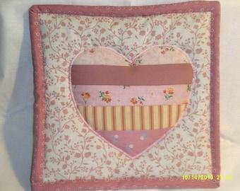 pink valentine heart potholder/hot pad