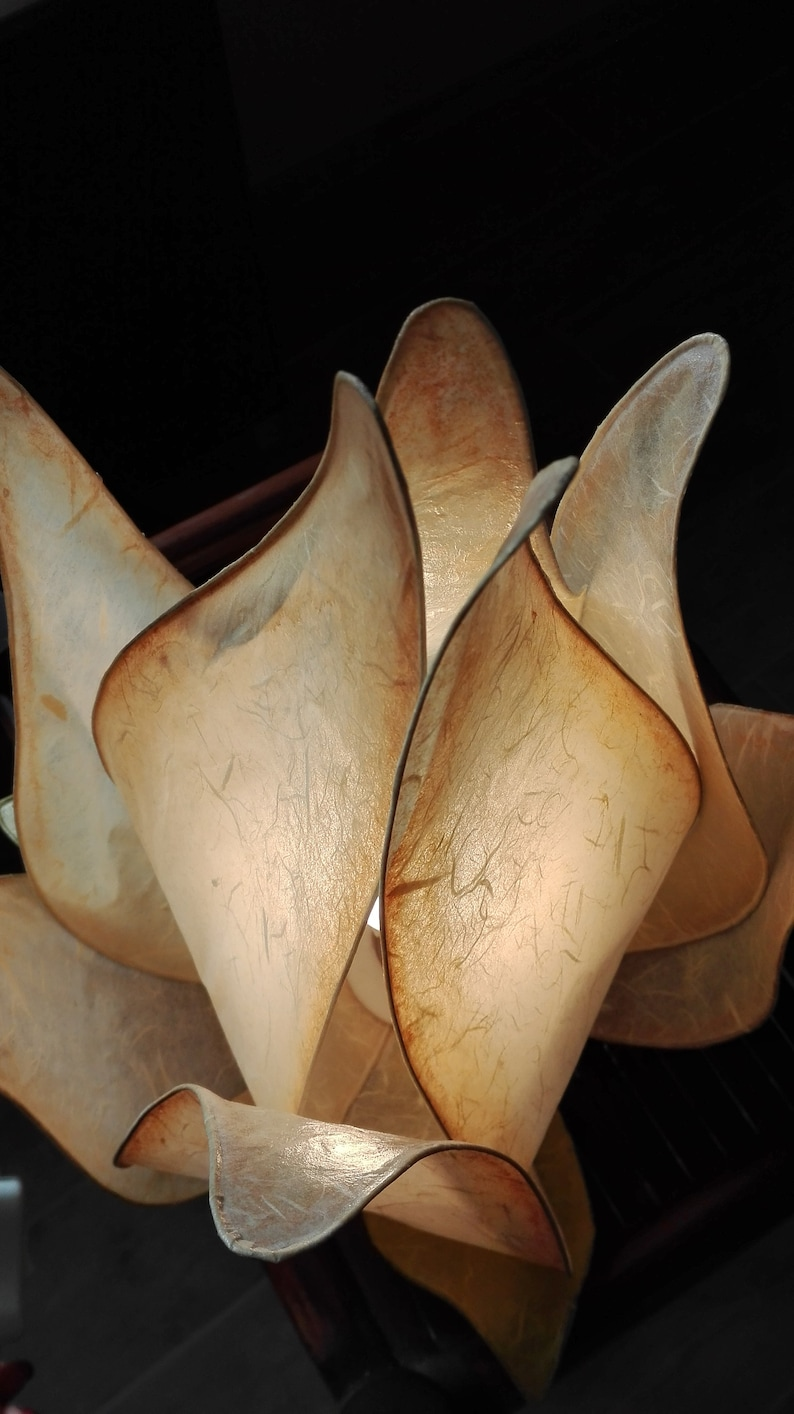table lamp in the shape of a flower bud Handmade lamp rice paper lamp warm atmosphere. soft beige color