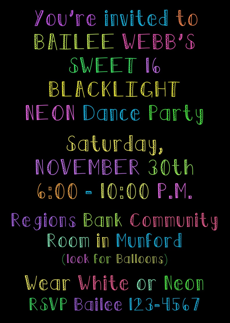 PRINTED or DIGITAL Neon Black Light Sweet 16 Sixteen Birthday Invitations  5x7 Customized Neon Blacklight Design 0 82 each