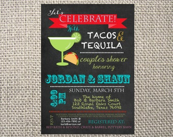 PRINTED or DIGITAL |  Tacos Tequila | Couples Shower Wedding Invitation | Invites | Mexican | Margaritas | Custom Invitations .82 each
