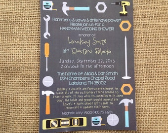PRINTED or DIGITAL | Tools Handy Man | Couples Shower Wedding Invitation | Invites | Fixer | Custom Invitations .82 each