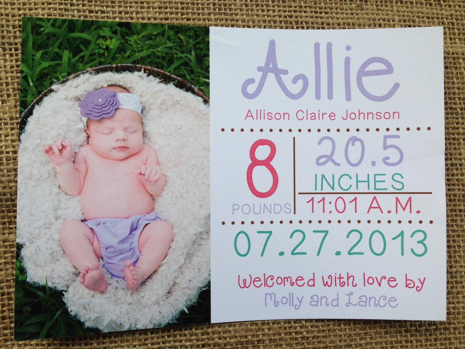 printed or digital simple elegant baby birth announcements card 5x7