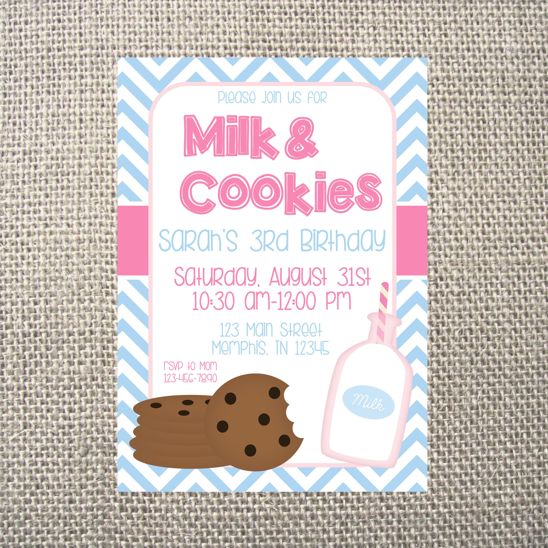 PRINTED or DIGITAL | Cookies & Milk | Birthday Party Invitation ...