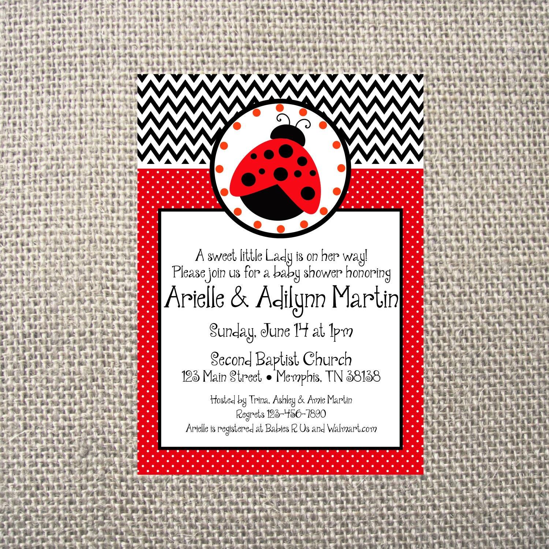 PRINTED or DIGITAL Red Black chevron lady bug Baby Shower Birthday ...