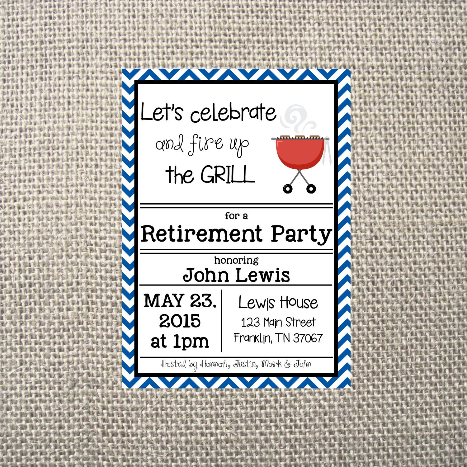 PRINTED or DIGITAL BBQ Retirement Party Grill Out Neighborhood ...