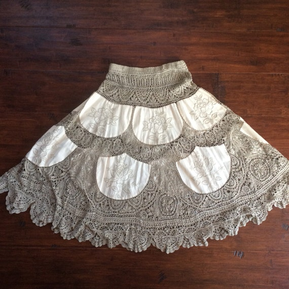 Gorgeous Embroidered Crochet Midi Skirt