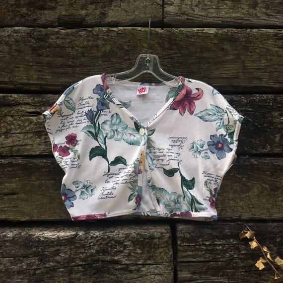 Floral Crop Short Sleeve Cardigan