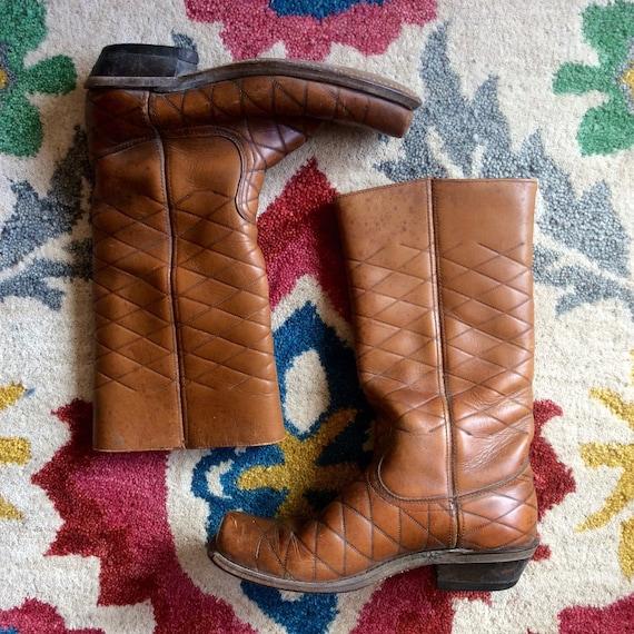 Diamond-Stitch Vintage Leather Cowboy Boots