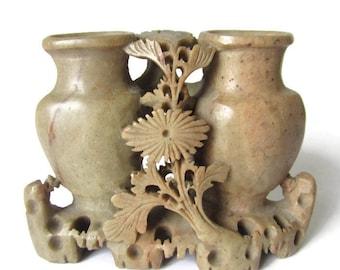 Flower Holder  ** Hand Carved Soap Stone Vintage from China ***1940/'s Chinese SOAPSTONE MONKEY BOWL **Lovely Vintage Soap Stone Vase Bowl