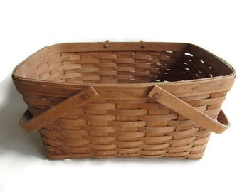 Longaberger Basket With Swinging Bail Handles, 1984