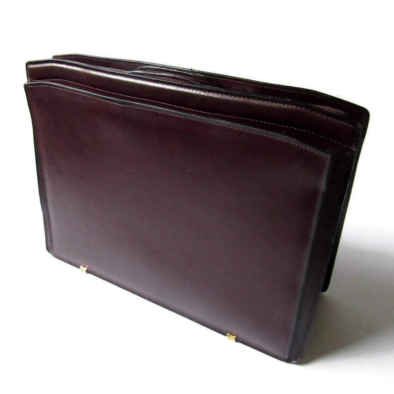 Soft Side Briefcase Leather Briefcase Maroon Briefcase Unisex Briefcase Top Grain Cowhide Briefcase Briefcase; Cowhide Briefcase
