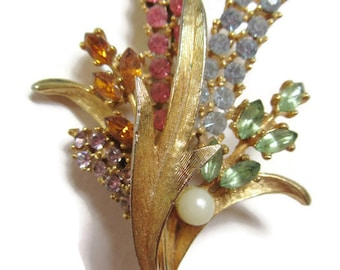 Art-Mode Gold Tone & Rhinestone Floral Brooch; 1960's