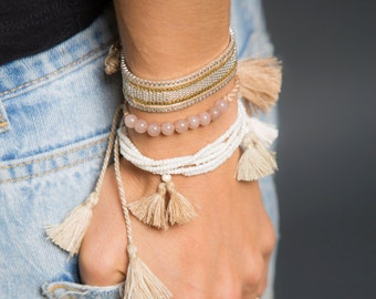 50% OFF | Beaded Tassel Bracelet, Tassel Bracelet, Stack Bracelet, Bridal Jewellery, Summer Style, Tassel Charm, Women Accessories, Tassles
