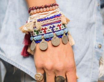 20% OFF | Gemstone Bracelet, Tassel Jewellery, Arm Party, Layered Bracelets, Tassel Charm, Gypsy Soul, Beaded Bracelets, Boho Fashion
